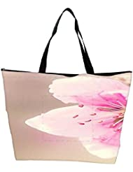 Snoogg Girly Pink Flower Waterproof Bag Made Of High Strength Nylon