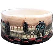 Pat Fischer Country Folk Art Pillar Candle Holder Plate 4 Wide X 1.75 High