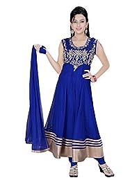 Divinee Blue Net Readymade Anarkali Suit - B0136DK2UK