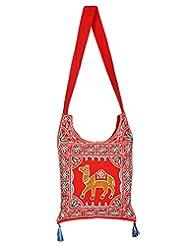 Rajrang Indian Designs Cotton Embroidered Camel Red Sling Bag