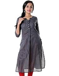 ESTYLe Jet Black With White Vertical Stripes & 3/4th Sleeves Cotton Women Kurta
