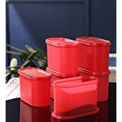 Tallboy Space Saver Modular 1200 Ml Plastic Multi-purpose Storage Container(Pack Of 6, Candy Red)