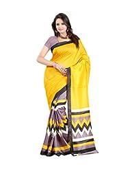 Vibes Women's Bhagalpuri Art Silk Saree,With Blouse (S51-VBK137_Yellow)
