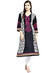 Lookslady Bollywood Fashion Black 3/4th Sleeve Floral Print Polyester Casual Wear V Neck Long Designer ReadyMade...