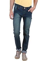 Routeen Golden Rust Blue Slim Fit Cotton Jeans For Men