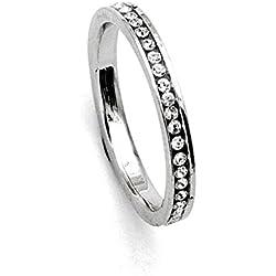 Eternidad 18k anillo de dedo oro blanco plateado salpicada de Hecho con SWAROVSKI ELEMENTS Cubic Zircon Crystal