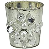 """3"""" Glamour Time Hayworth Platinum Silver Glass Votive Christmas Candle Holder With Pearl Jewel Medallion"""