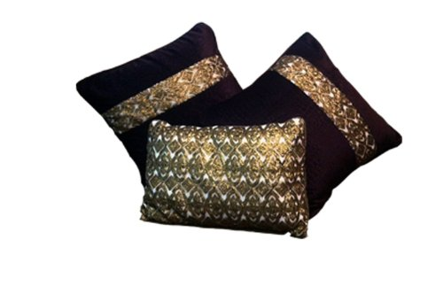 Design Indeed Velvet Fabric Square Cushions With Golden Beads' Highlighter(Set Of 2)