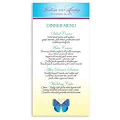 25 Wedding Menu Cards - Butterfly Blue