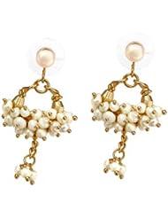 Nisa Pearls Off White Colour Earring Jhumki For Women