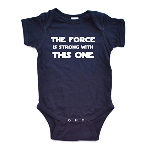 Cute Funny Nerd Geek Humor The Force is Strong With this One Soft Baby Bodysuit