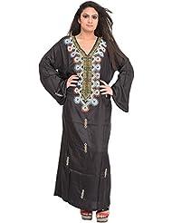 Exotic India Jet-Black Kashmiri Kaftan With Embroidered Beads And Stone- - Black
