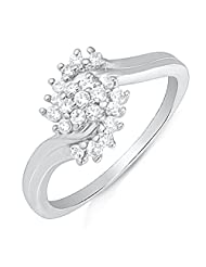 Mahi Rhodium Plated Gleaming Covey Finger Ring With CZ For Women FR1100623R