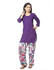 Purple Solid Cotton Straight Salwar Suit