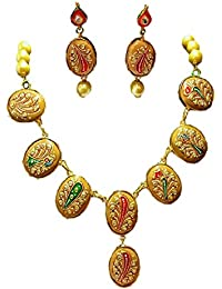 Akshita Creation Golden Colour Copper Beads Necklace Set For Women