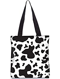 Snoogg Black Patch Pattern Digitally Printed Utility Tote Bag Handbag Made Of Poly Canvas