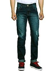 Studio Nexx Men's Distressed Slim Fit Jeans (Green Tint)