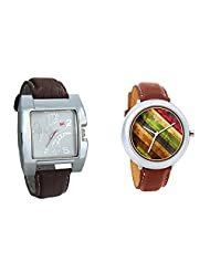 Gledati Men's White Dial & Foster's Women's Multicolour Dial Analog Watch Combo_ADCOMB0002282