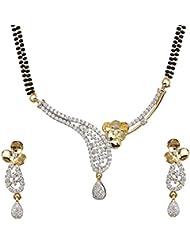 Biyu Latest Design American Diamond Gold Plated Mangalsutra Earring