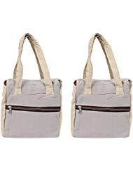 VS Exporrts Cotton 6 Liters Multi-Color Lunch Bag (Combo Of 2) - B01HZ1NMLK
