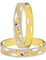 The Jewelbox Wedding Designer 22k Gold Plated Rhodium Metal Chuda Kada Bangle Set Of 2 For Women - B01IQY0NTE