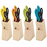 Renberg 5 Pc Kitchen Knife Set With Wooden Stand.(Color May Vary)
