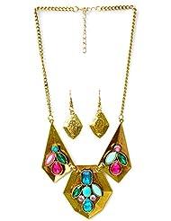 Pretty Women Fancy Golden Pendant Set With Multi Color Stones (PWSET281)