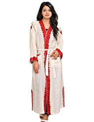 Exotic India Ivory Robe From Kashmir With Ari Hand-Embroidered Paisl - Off-White