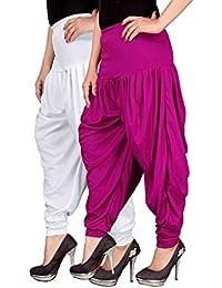 Navyataa Women's Lycra Dhoti Pants For Women Patiyala Dhoti Lycra Salwar Free Size (Pack Of 2) White & Magenta