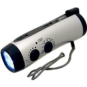 Kaito KA404 Emergency Hand Crank Dynamo 5-LED Flashlight with AM/FM radio