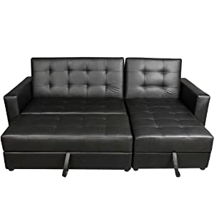 Hom Deluxe Faux Leather Corner Sofa Bed Storage Sofabed Couch with Ottoman New Black Amazon