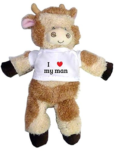 Plush Cow Toy. Text on the t-shirt: I heart my man