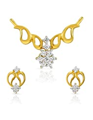 Mahi CZ Collection White Gold Plated CZ Mangalsutra Set For Women-NL1101511G