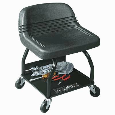 Azm Rolling Work Seat With Tool Tray Metal Shop Stools