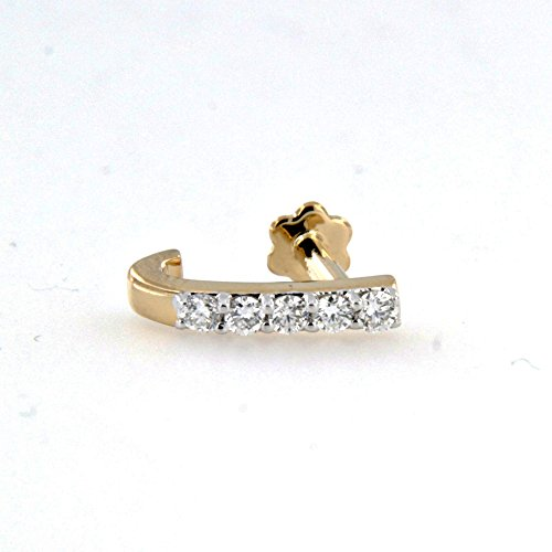 Cubic Zirconia Diamond Nose Pin In 14K Yellow Gold Over .925 Sterling Silver - B014PBW7HS