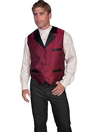 Victorian Men's Vests and Waistcoats Paisley Print Solid Lapel Vest  AT vintagedancer.com