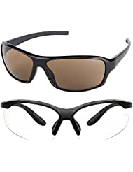 New Stylish UV Protected Combo Pack Of Sunglasses For Women / Girl ( BrownWrap-ClearNightVision ) ( CM-SUN-059 )