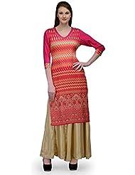 Natty India Pink And Multicolor Cotton And Rayon Women's Kurta And Pallazo Set