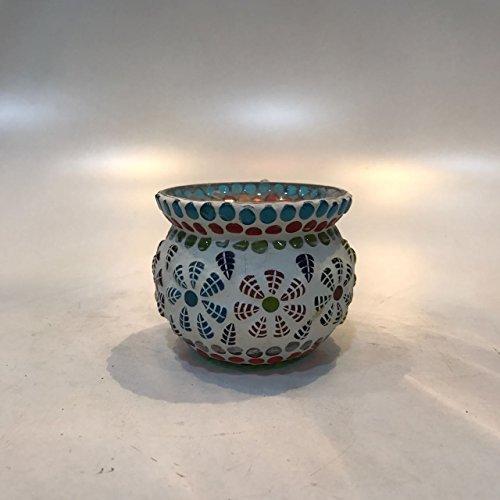 Dlite Crafts Multicolor Polka Design Home Decorative Votive Candle Holder, Set Of 2 PCs - B06XYL3ZSR