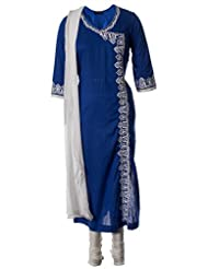 AzraJamil Fine Cotton Royal Blue Resham Embroidered Traditional Churidar Suit For Women