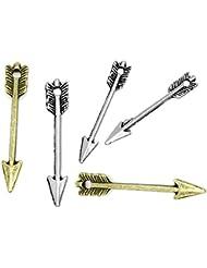 195 PC Silver & Bronze Tone Tibetan Arrow Charm Pendants 29x5mm, Jewelry Making DIY Steampunk