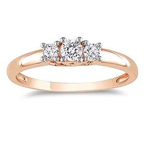 Enthralling Three Stone Trilogy Three Stone Wedding Ring Half Carat Round Cut Diamond on Gold
