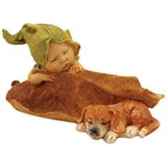 Top Collection Enchanted Story Fairy Garden Sleeping Fairy Baby with Puppy Outdoor Statue