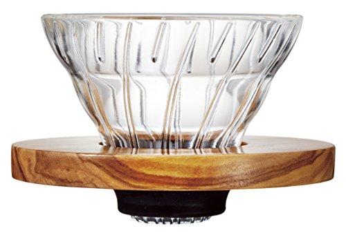 Hario V60 Glass Coffee Dripper (Size 01, Olive Wood)