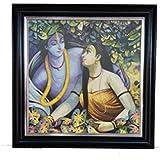 Modern Art Radha Krishna UV Print Photo Frame (36.5 Cm X 36.5 Cm X 2 Cm, Black)