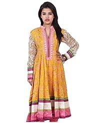 Chhipa Women Hand Printed Yellow Anarkali(1015_Yellow_44)