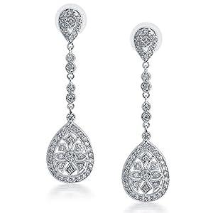 Bling Jewelry Bridal Art Deco CZ Teardrop Chandelier Earrings Large