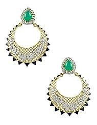 The Art Jewellery Emerald Color Victorian AD Dangle&Drop Earrings For Women
