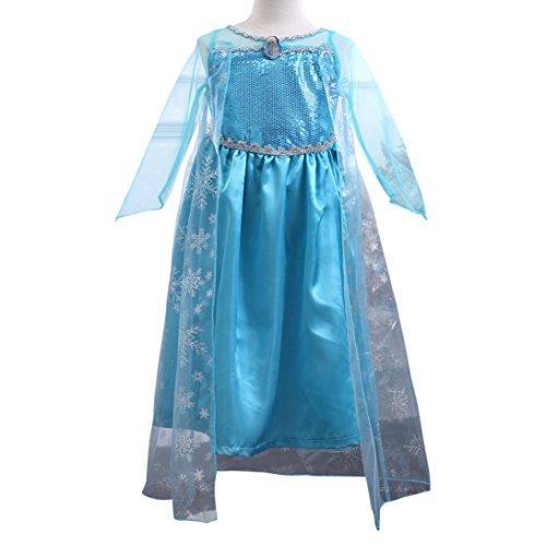12fb77daf MissFox Traje De Frozen Elsa Disfraz Para Niña 120CM Luz Azul