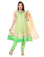 Divinee Neon Green And Beige Net Readymade Anarkali Suit